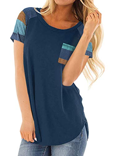 (Minclouse Women's Short Sleeves Color Block Striped Tops Crew Neck Blouses Casual Shirts Blue)