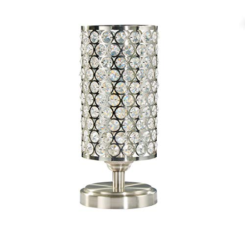 Doraimi 1 Light Crystal Table Lamp with Brushed Nickel Finish,Modern and Concise Style Desk Lamp with Polyhedral,Opal Crystal Shade for Bedroom, Living Room, Office, LED Bulb(not Include)