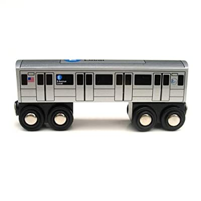 Munipals Wooden Railway NYC Subway Car E Train: Toys & Games