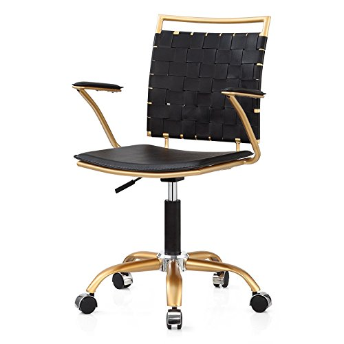 M356 Gold Finish Modern Office Chair, Swivels and Height Adjustable Made By Meelano by Meelano