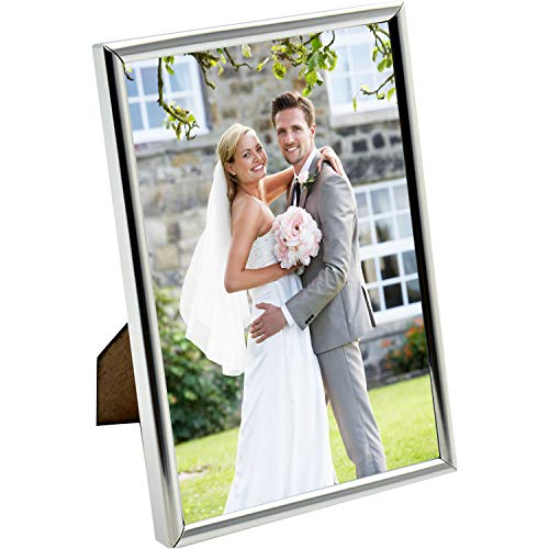 HUIXIANG Silver Photo Frames 6x4 Metal Picture Frame Vertical or Horizontal Plain Style Photo Frame for Wall Table Top Thin Edge Nice Gift for Mother's Day Wedding Anniversary 4 by 6 Inch Silver (Tabletop Edge Metal)