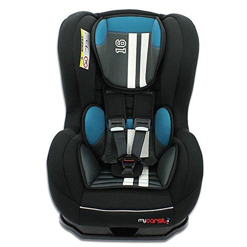 Mycarsit - Kinderautositz SPRINT, ECE Gruppe 0/1 (0 bis 18kg), bis 10kg REBOARD nutzbar, Petrole/noir Mustang