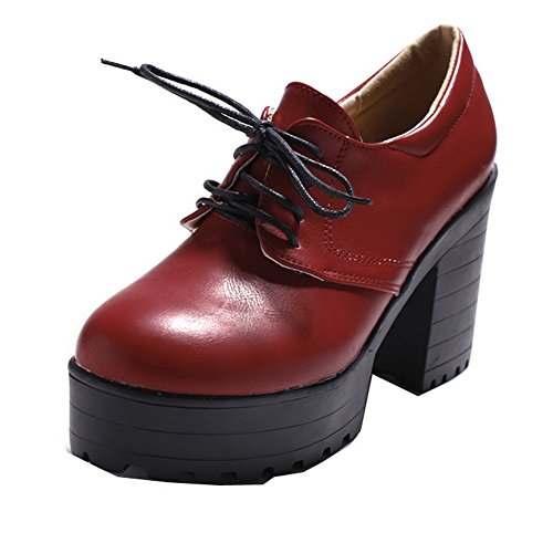 VogueZone009 Women's Lace-up Round-Toe High-Heels Solid Pumps-Shoes Red 7sc8bXR