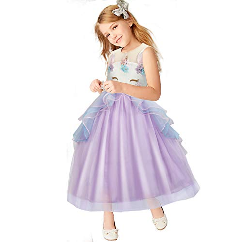Baby Girls Unicorn Dress Flower Princess Dress up Birthday Party Prom Sleeveless Tulle Gown for 6-7 -