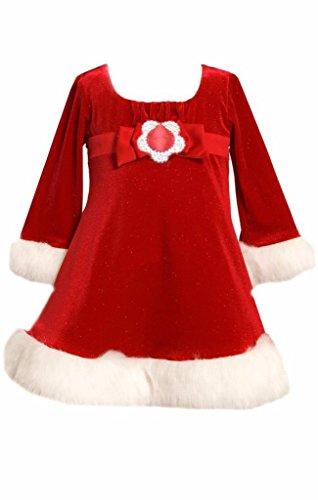 Emma Kids Dress (Bonnie Jean Emma Christmas Dress Red Velvet Santa Faux Fur Baby Girls)