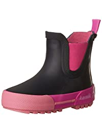 Kamik Kids' Rainplaylo Rain Boots, Navy/Magenta, 7 M US Toddler