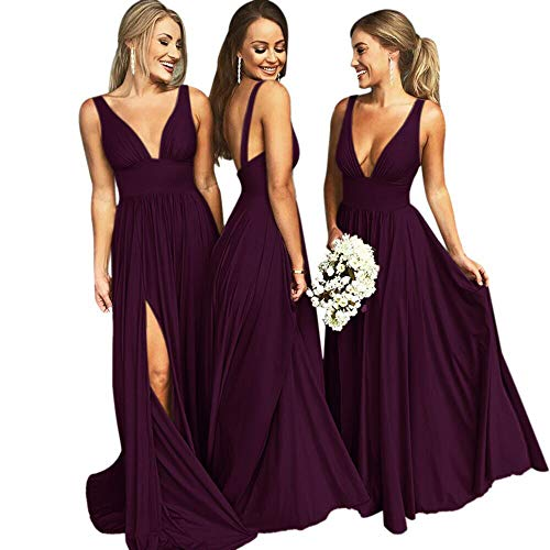 VinBridal V-Neck Backless Long Slit Side Beach Wedding Bridesmaid Dresses Plum 6