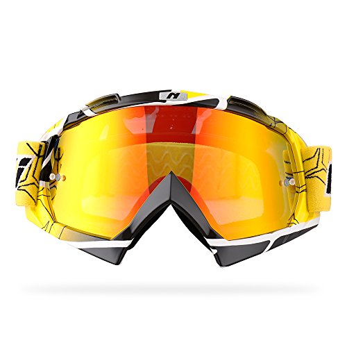 NENKI Motocross Goggles NK-1019 Mx ATV Off Road Dirt Bike Goggles For Unisex Adult (Techline Yellow,Iridium Red Lens)