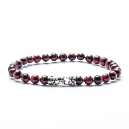 Sterling Tigers Eye Bead Bracelet (Scott Kay Men's Red Tiger's Eye Beaded Bracelet with Engraved Silver Clasp - 8.25)