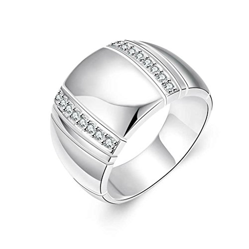 - Epinki Silverd Plated Ring, Women's Wedding Bands Wide Ring Cubic Zirconia Silver Size 8
