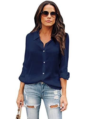 OMSJ Womens Button Down Shirts Long Sleeve Chiffon Office Casual Blouses (XL, Dark Blue)