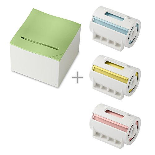 nemonic Sticky Note Inkless Green Printer (1 Item) Bundle with Multicolor Paper (3 Items) -