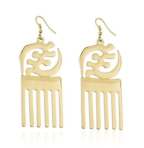 Goldtone Adinkra Symbols of West Africa Design Dangle Earrings (R-3745)