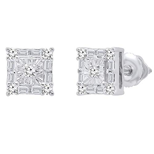 Dazzlingrock Collection 0.20 Carat (ctw) 14K Baguette & Round White Diamond Ladies Square Frame Stud Earrings, White Gold ()