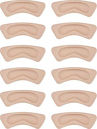Hotop 6 Pairs Heel Cushion Pads Heel Shoe Grips Liner Self-adhesive Shoe Insoles Foot Care Protector (Khaki)