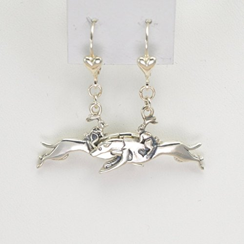 Sterling Silver Greyhound Earrings, Silver Greyhound Jewelry fr Donna Pizarro's Animal Whimsey Collection