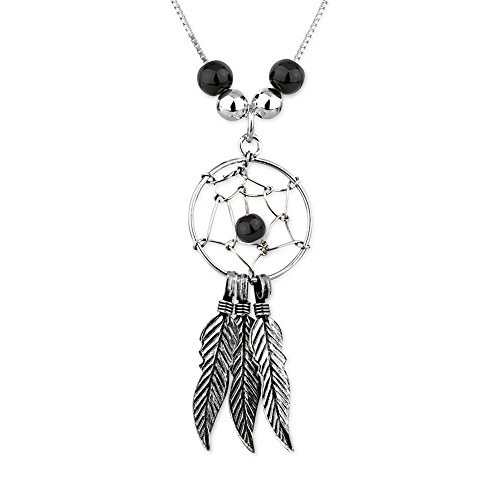 925 Sterling Silver Black Resin Bead Dream Catcher w/ Feather Charms Pendant Necklace, 16-17 inches