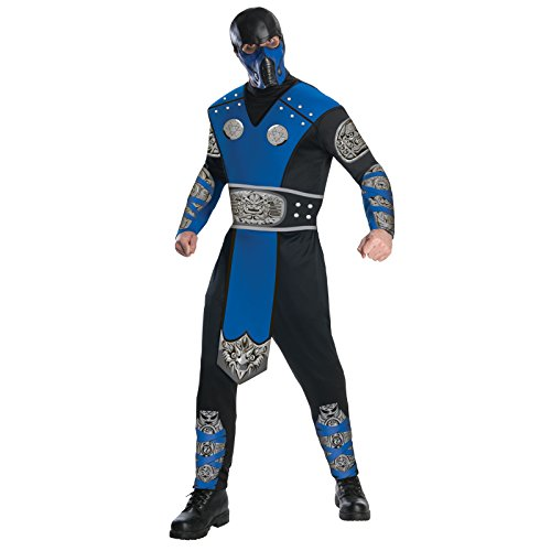 Mortal Kombat Adult Sub-Zero Costume And Mask, Blue/Black, -