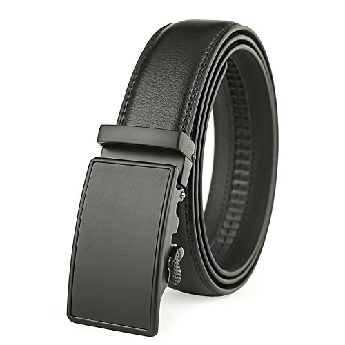 Men's Solid Buckle with Automatic Ratchet Leather Belt 35mm Wide by Guravio (Image #6)