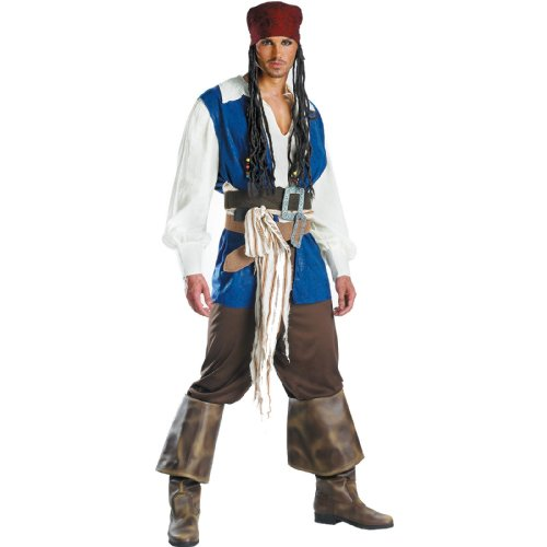 Disguise Men's Disney Pirates Of The Caribbean Captain Jack Sparrow Classic Costume, Brown/Blue White, X-Large -