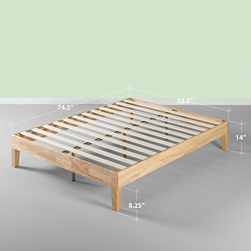Zinus 14 Inch Deluxe Wood Platform Bed/No Boxspring Needed/Wood Slat Support/Natural Finish, Queen