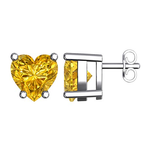 Solid Sterling Silver 5mm Heart Shaped Natural 0.9 CT Citrine Stud Earrings, High Polished Heart Shaped Citrine Earrings with Push Backs