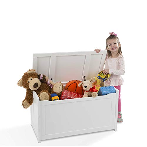 Melissa & Doug Wooden Toy Chest, Sturdy Wooden Chest, 8.25 Cubic Feet of Storage, Easy to Assemble, White