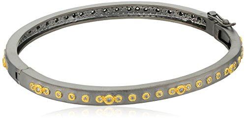 Freida Rothman Womens Signature Mini Stud Eternity Hinge Bangle Bracelet, Black & Gold, Size (Gold Eternity Bangle)