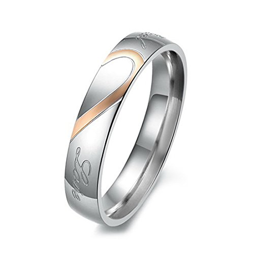 INBLUE Women's Stainless Steel Band Ring Silver Tone Heart Couple Wedding Promise Size7