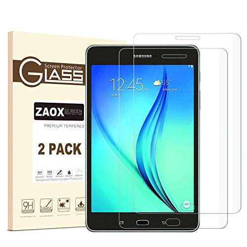 - ZAOX Samsung Galaxy Tab A 8.0 Tempered Glass Screen Protector, Anti-Scratch, Anti-Fingerprint, Bubble Free, 9H Hardness HD Clear Screen Protector Film for Galaxy SM-T350 Model (2 Pack)