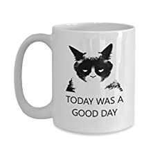 Grumpy Cat Coffee Mug - Funny Ceramic Gift with Saying - Today Was a Good Day