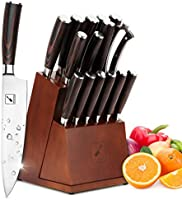 Japanese Knife Set, imarku 16-piece Kitchen Knife Sets with Block Wooden, Manual Sharpening for Chef Knife Set with 6...