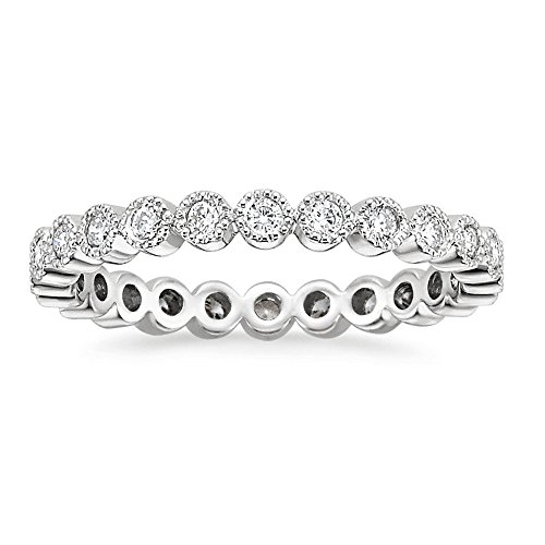 espere Sterling Silver Round Bezel CZ Stack Ring Eternity Bands Promise Rings for Her Rhodium Plating Size 5