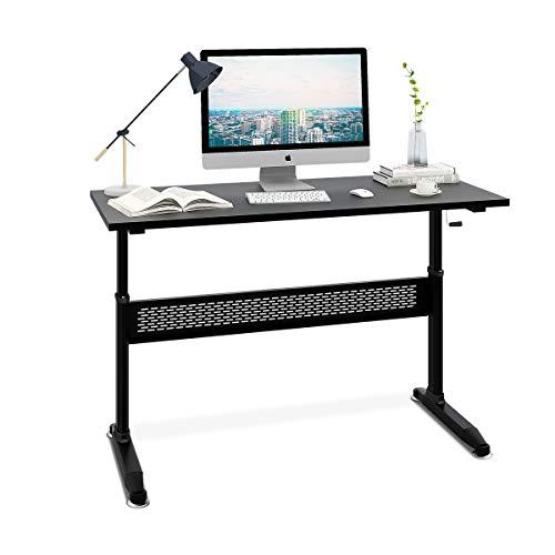 DEVAISE Manual Height Adjustable Standing Desk - Steel Ergonomic Desk with Side Crank/Black