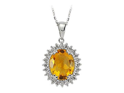 Pendentif Citrine Ovale et Diamants-Femme- or Blanc 204P0059