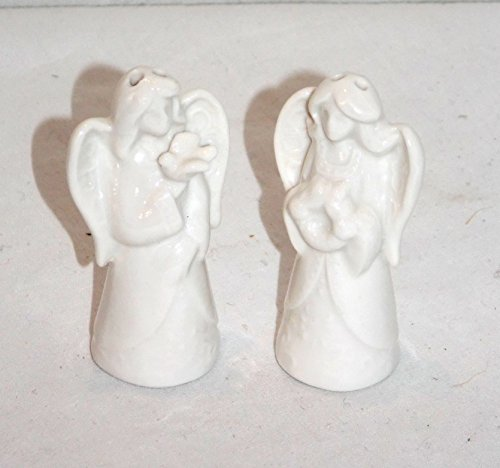 CERAMIC MINIATURE ANGEL ANGELS HOLDING A BIRD & WREATH SA...