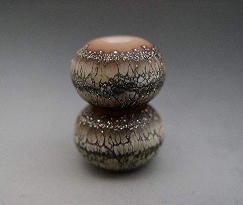 World's Natural Treasures - Naos Glass Strata Pair Made to Order Artisan Glass Beads Handmade Lampwork Beads SRA Coffee Caramel Cream Black Cafe Au Lait Dusty Cedar