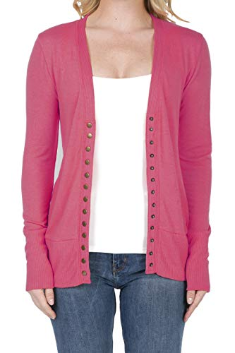 SHOP DORDOR 2039 Women's Button Down Long Sleeve Knit Cardigan Sweater HOT Pink M