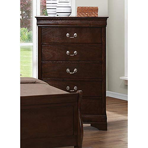 Coaster Home Furnishings Louis Philippe 5-Drawer Chest with Silver Bails Cappuccino