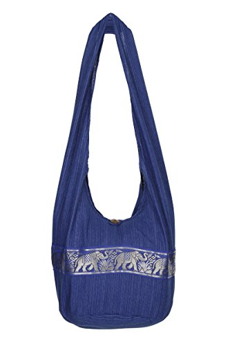 nbsp;– de de hombro Boho nbsp;100 Sling bolsa de Gypsy nbsp;playa mano hippy viaje bolsa algodón nbsp;– Azul bolso diseño elefante Thai U6FCqw4w