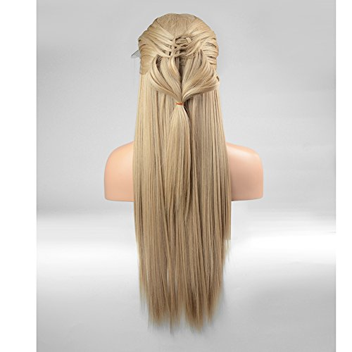 FUHSI Kanekalon Fiber 13×6 Inch Lace Real Natural For Women – Soft & Smooth, Straight Lace Front Wig, Elastic Straps, Comfortable & Adjustable –Color 103# Blonde 250D 22'' by FUHSI (Image #2)