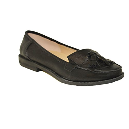 Womens Work Ladies Black Office Shoes Fringe Loafers New Tassle Annalise 4gqTx75