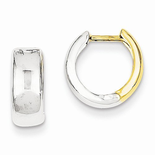 14k Two tone Hinged Hoop Huggie Earrings (10mm x 5mm) by Sonia Jewels