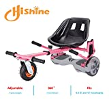 HISHINE Colorful Hoverboard Seat Attachment, Go Carts for Kids, Shock Absorbing,Adjustable Length, Healthy Sport(Pink)