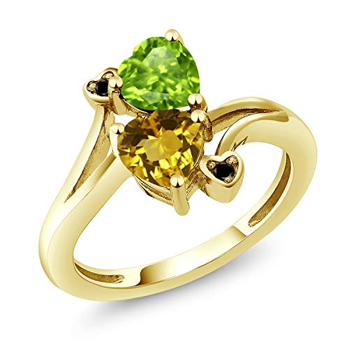 t Yellow Citrine 18K Yellow Gold Plated Silver Ring (Size 9) ()