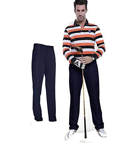 Kayiyasu ロングパンツ メンズ ゴルフウェア 防水 UVカット 男性用 撥水 長ズボン 021-xsty-kuz005(XXL ネイビー)