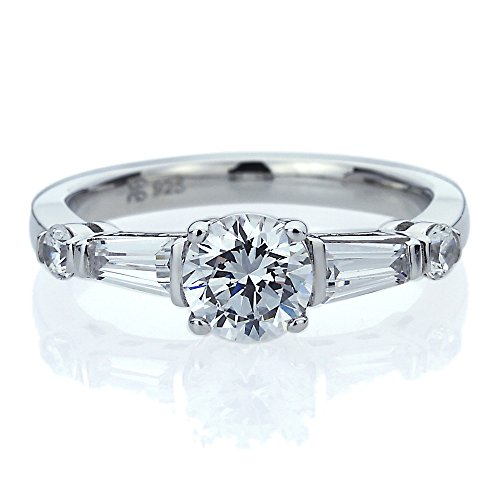 Accents Baguette (Platinum Plated Sterling Silver 1ct Round CZ Baguette Accent Wedding Engagement Ring ( Size 5 to 9 ), 6)
