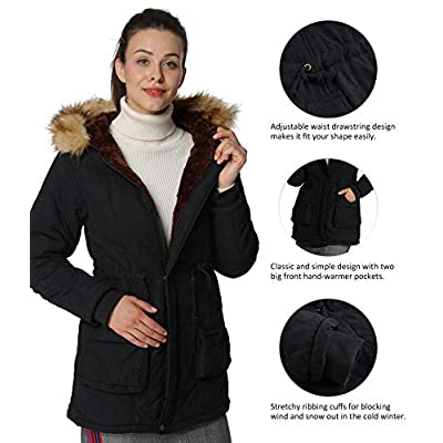 4How Womens Hooded Parka Jacket Warm Winter Coat Faux Fur Trim: Clothing