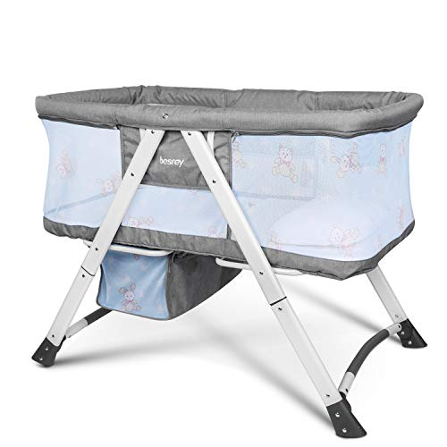 besrey Baby Bassinet 2 in 1 Travel Crib Baby Bed with Breathable Net/Harmless Mattress/Quick Foldable Design for Infant, Baby - Grey