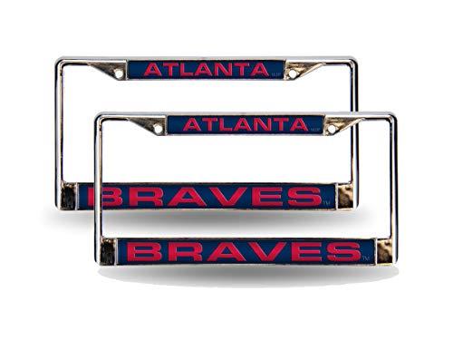 - Rico Atlanta Braves Blue MLB (Set of 2) Chrome Metal Laser Cut License Plate Frames